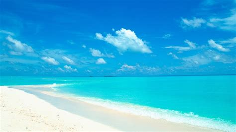blue sky  water   white sand beach wallpaper