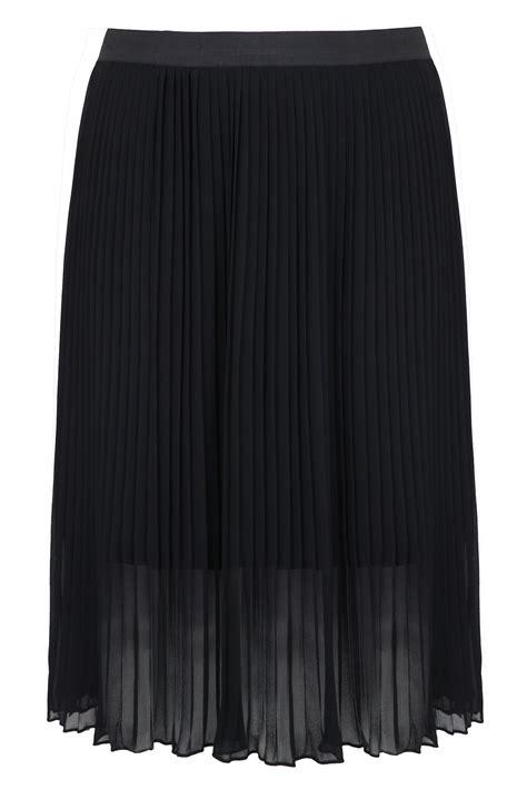 Chiffon Midi Skirt black chiffon pleated midi skirt with elasticated waist