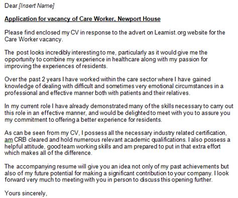 Care Worker Cover Letter by Care Worker Cover Letter Exe Learnist Org