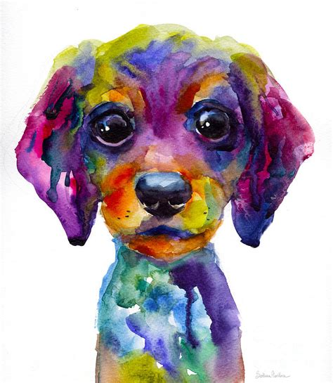 puppy painting colorful whimsical daschund puppy painting by