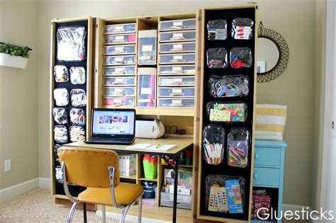craft armoire with table guest contributor gluesticks craft storage ideas