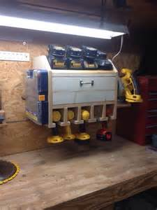 Organizer Desk Lamp Drill Charging Station With Storage Shelf Garage