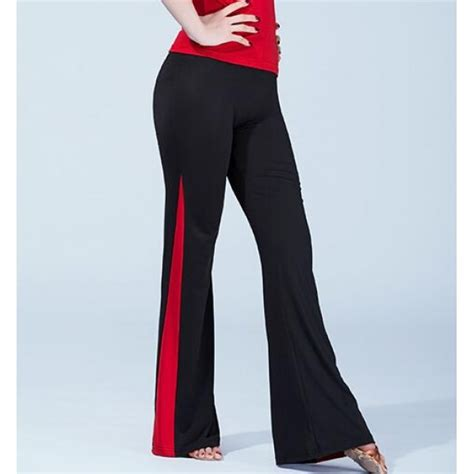 swing dance pants black and red patchwork long length women s ladies female
