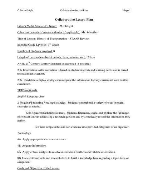 cooperative learning lesson plan template collaborative lesson plan exle