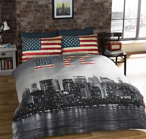 Bed Cover Set America Uk 120x200 rapport nyc new york skyline bedding american flag