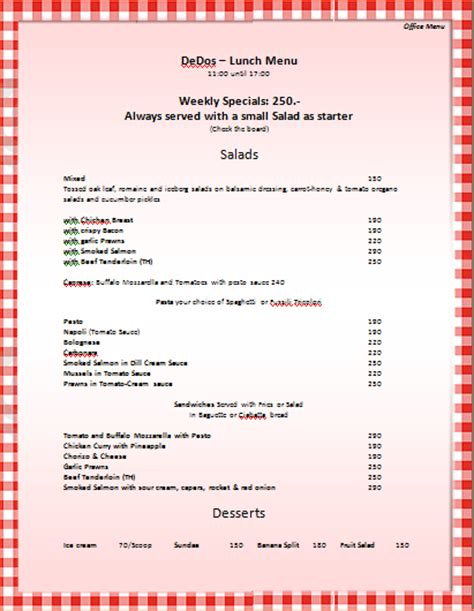word templates menu 7 menu templates for microsoft word procedure template