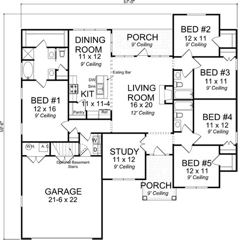 5 bedroom 1 house plans craftsman house plan 5 bedrooms 3 bath 1988 sq ft plan