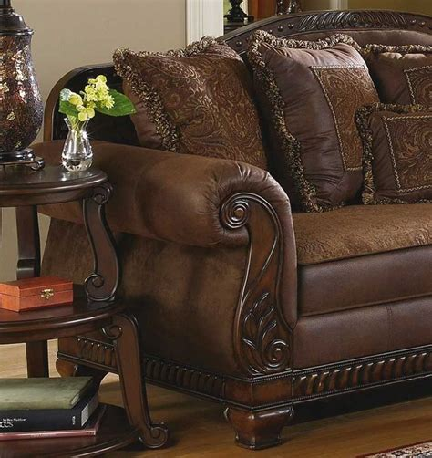 brady traditional wood trim chenille fabric sofa set