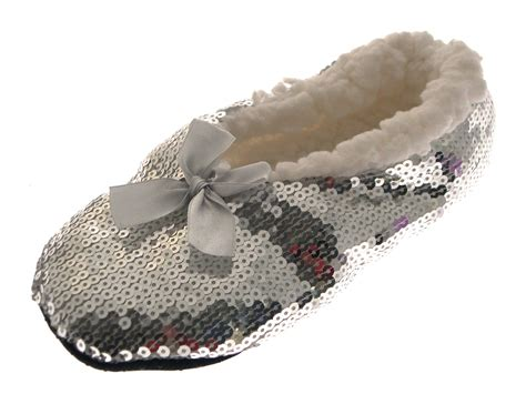 slipper booties for womens sequin sherpa fur lined slipper socks