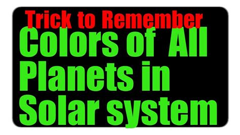 colors of planets tricks to remember colors of all planets solar system