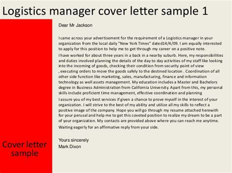 logistics manager cover letter construction job sle