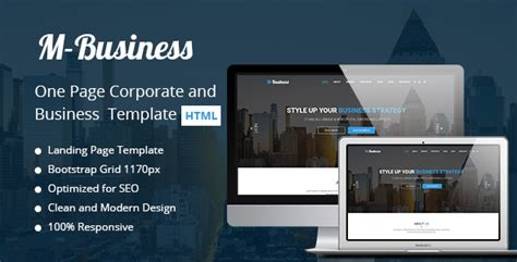 m business one page corporate and business template nulled
