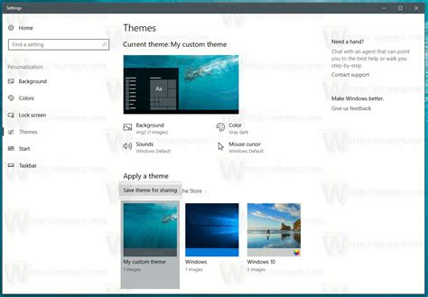 themes windows 10 location save a theme as deskthemepack in windows 10 creators update