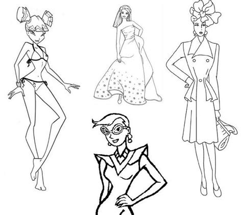 Fashion Model Outline Coloring Pages Fashion Model Coloring Pages