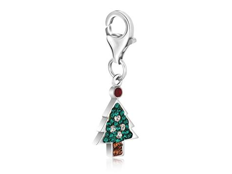 christmas tree multi tone crystal studded charm in