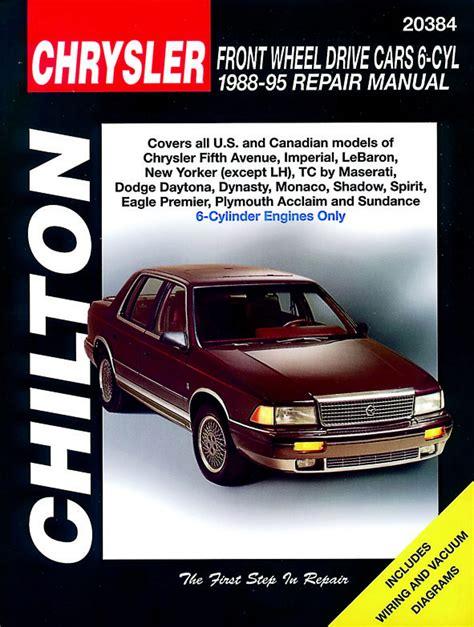 motor auto repair manual 1995 chrysler new yorker auto manual chrysler front wheel drive cars 1988 1995