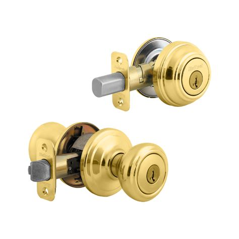 Door Lock Combo Pack by Kwikset Cameron Knob With Single Cylinder Deadbolt Combo Pack Smartkey Entry Polished Brass