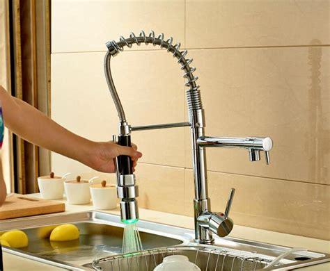 2018 new chrome led pull kitchen faucet swivel