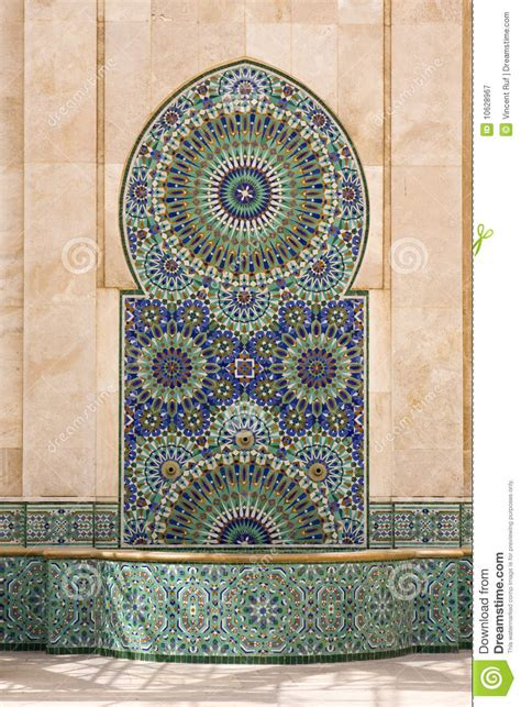moroccan fountain stock image image  green maghreb