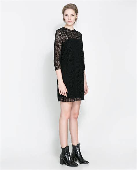 Dress Zara zara crochet dress in black lyst