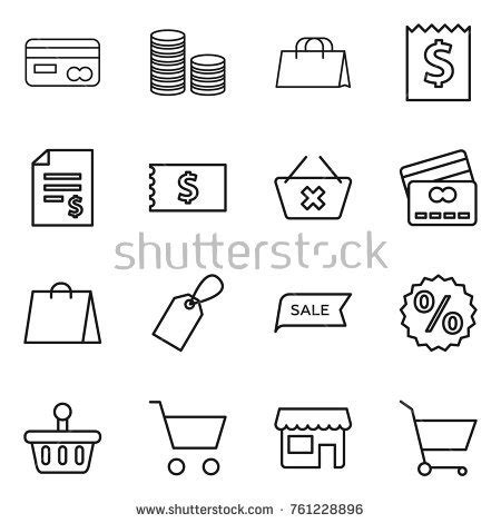 tutorial carding coin line finance money icons set hand drawing stock vector 99450314