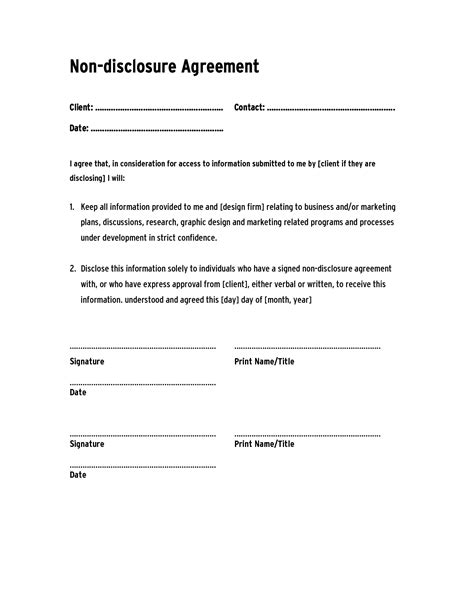 non disclosure agreement templates company documents