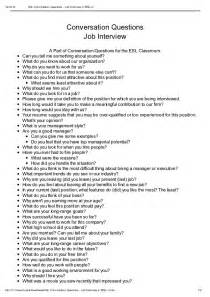 Esl Conversation Questions Job Interview I Tesl J