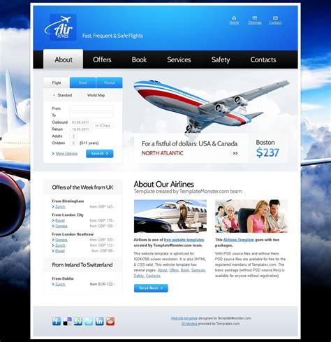 free homepage template free website template for airlines company