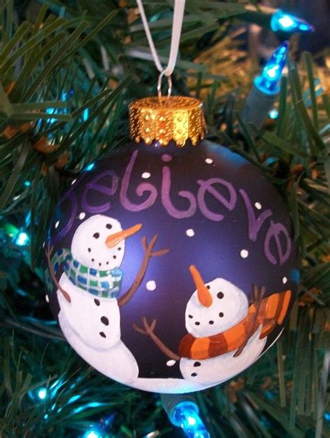 believe hand painted glass holiday ornament