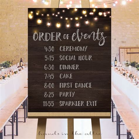 wedding order of events printable large wedding signs rustic wedding ideas