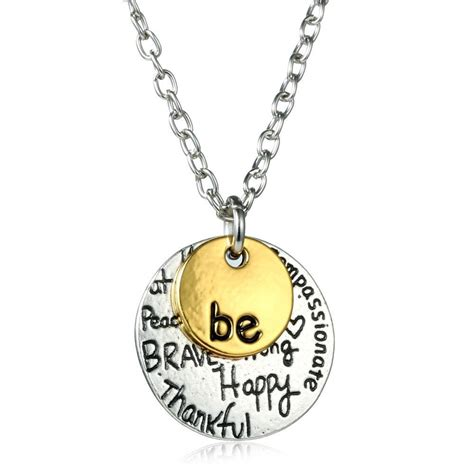 two tone gold quot be quot graffiti charm necklace engraved letter