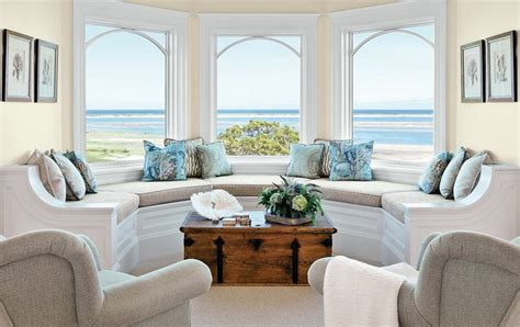 beach home interior design ideas living room bay window seat ideas home intuitive