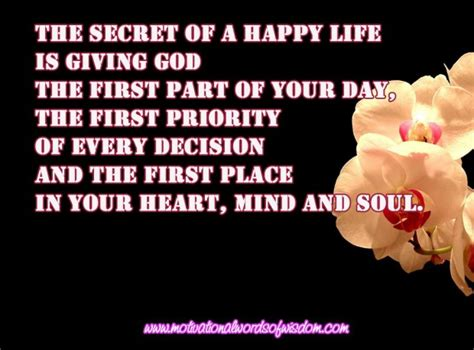 secret of day the secret of a happy is giving god the part of