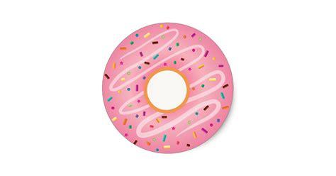 Wall Stickers Birds pink donut with rainbow sprinkles classic round sticker
