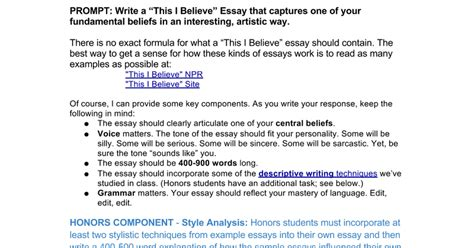 Exles Of This I Believe Essays by This I Believe Essay Prompt Docs
