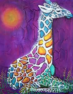 colorful giraffe painting baby giraffe rainbow prints redbubble