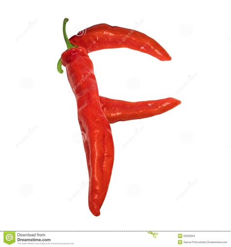 hot pepper 7 letters letter f composed of red chili peppers stock images