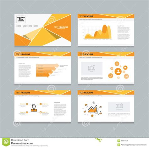 Vector Template Presentation Slides Background Design Orange Stock Vector Illustration Of Picture Slideshow Template