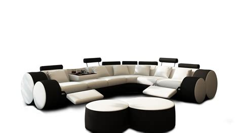 3087 Modern White And Black Leather Sectional Sofa And Coffee Table