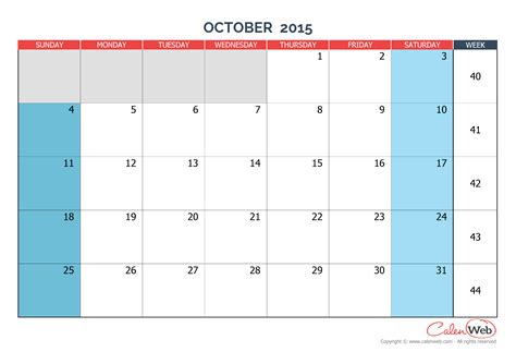 Printable Calendar Weekly October 2015 Monthly Calendar Month Of October 2015 The Week Starts
