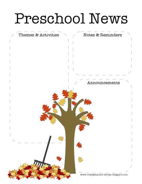 Fall Preschool Newsletter Template The Crafty Teacher Free November Newsletter Templates