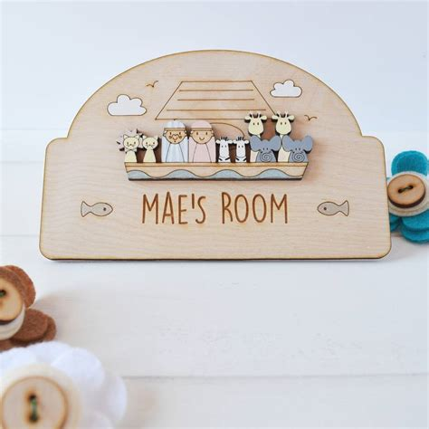 name plaques for rooms personalised noah s ark name door plaque by just toppers notonthehighstreet