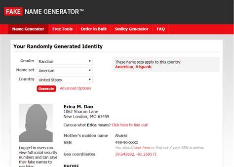 generate a random name fake name generator the fake name generator create a name address telephone