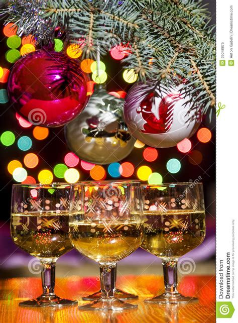 festive decorations glasses with sparkling wine with festive decorations