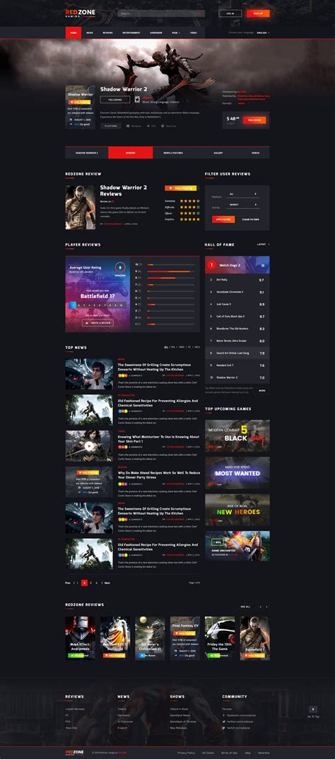 game layout psd red zone game psd template blog review portal