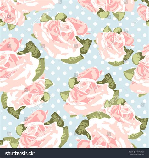 beautiful seamless vector polka dots pattern background can beautiful seamless rose pattern with blue polka dot