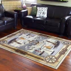 Nautical Area Rugs 8x10 8x10 7 6 Quot X 10 1 Quot Nautical Lighthouse Sailboat Compass Anchor Area Rug Ebay
