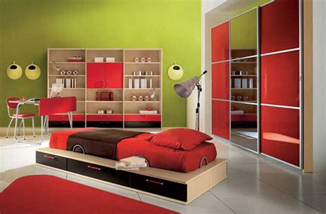 modern kids bedroom large kids bedroom design with red bed and brown quilt