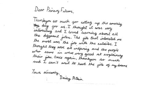 thank you letter to a dedicated primary futures lincolnshire education and employers