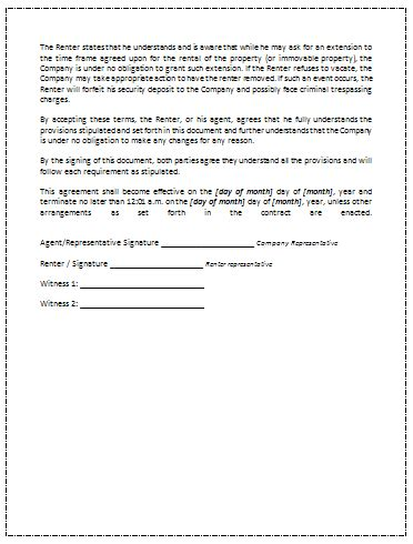 Printable Sle Rental Agreement Template Office Templates Online Contract Signature Page Template